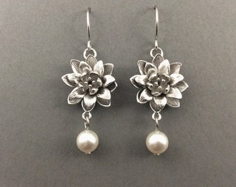 Pearl Silver Earrings With Intricate Flower Connectors And White Swarovski Crystal Pearls
