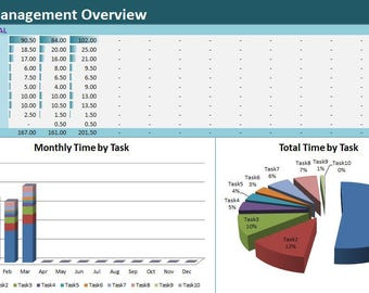 timetask tracker excel template activity diary spreadsheet project time management full year log