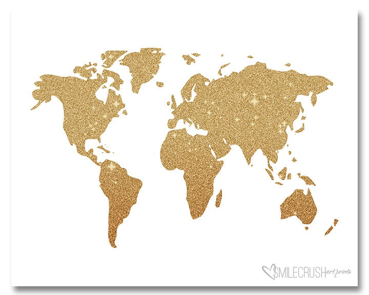Gold glitter map print world art gold glitter world map print zoom gumiabroncs Gallery