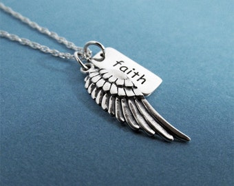 Faith Necklace Angel Wing Charm, Sterling Silver, Wing Necklace, Angel Wings, Faith Pendant