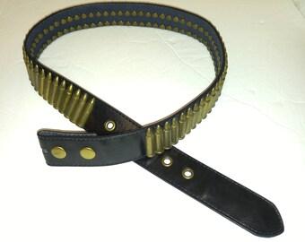Bullet Belt One of Kind Size 32 Black Leather