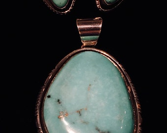 Seafoam Turquoise Pendent encased in Sterling Silver