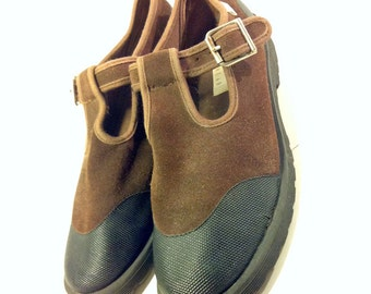 90's Brown Leather Mary Janes 10 - T Strap Platform Mary Janes 10 Hipster Brown Leather Mary Janes 10