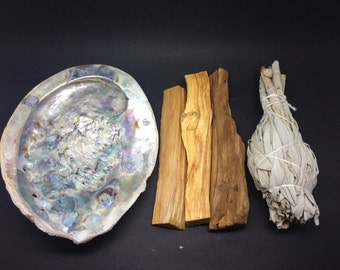 Smudge Kit- Abalone Shell, california white sage, Palo Santo ( 3 pieces) SCP01