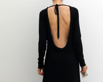 backless black dress, extra long sleeves, deep open back, jersey