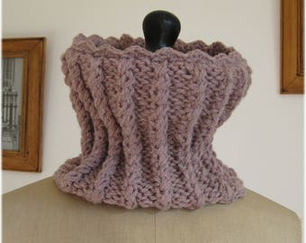 Wrap Snood knitted in fancy stitches