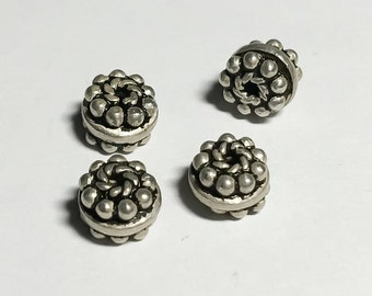 Granulated Bali Sterling Silver Rondelle Spacer Beads 4x7mm-4pc
