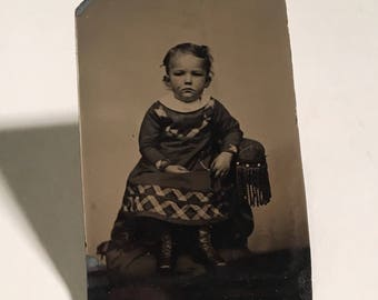 Tintype of a Cute Kid, 19th Century Photograph, Antique Tintype Photo