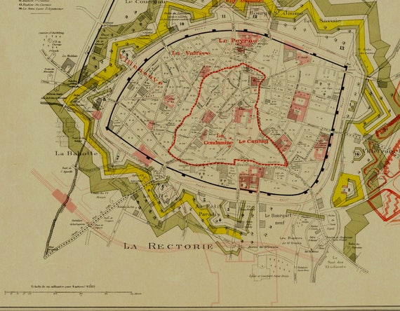 Old Map of Montpellier City Plan of Montpellier Antique