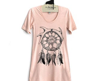 FITTED Large - Peach Heather Short Sleeve Tee Dress with Dream Catcher Screenprint