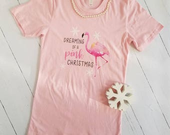 Dreaming of a Pink Christmas Shirt - Flamingo Shirt - Lilly Pulitzer Inspired - Preppy Christmas - Southern Life - Women's Holiday T-Shirt