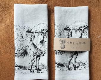 Black Sheep Black Sheep...Baaaa, Screen Printed 100% Natural Linen Tea Towel, Hostess Gift