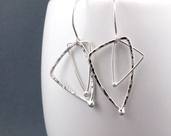 Recycled Silver Triangle Earrings, Geometric Earring Gift for Her, Ready to Ship