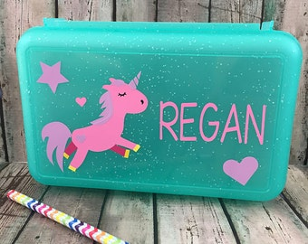 Unicorn Pencil Box - Personalized Kids Pencil Box - Back to School Supplies - School Supply Box - Girls Pencil Box - Crayon Box - Art Case