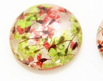 2 pcs of resin crystal cameo  real dry flower inside 25mm