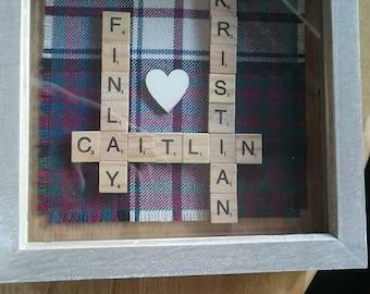PERSONALISED FRAME,  Personalised Wedding Gift, Anniversary Gift, Scottish Surname Family, Tartan Gift