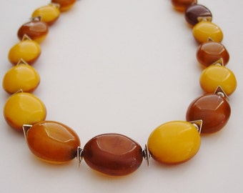 Hot Mustard Necklace / Yellow Necklace / Honey Necklace / Chunky Necklace / Cognac Necklace / Mustard / Yellow / Chunky / Resin / Statement