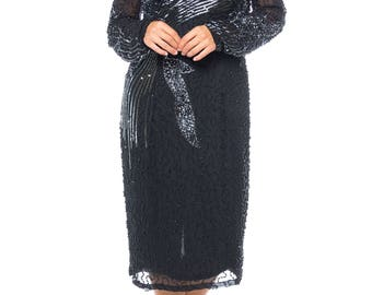 Long-sleeve Black Beaded And Sequinned Silk Dress Size: 4