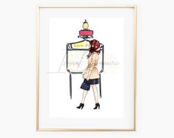 Parisian Lady Fashion Illustration Print,Paris Girl In a walk Fashion Sketch print, Paris Metro Wall Art print, Gift art, Wall Art print