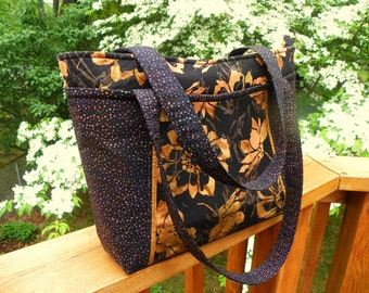 Black and Gold Floral Zippered Handbag Tote