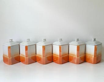 Antique Canister Set . Bavarian China . Vintage Canisters . Kitchen Storage Containers . Home Decor . Orange Lustre . Bavaria RCW . Germany