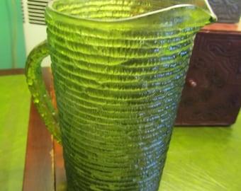 Vintage Anchor Hocking Green Glass Soreno Pitcher