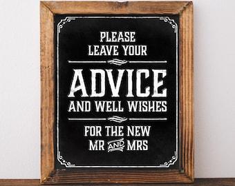Printable chalkboard sign. Wedding well wishes sign. Chalkboard Wedding decor. Chalkboard bridal shower decor. Chalkboard digital download