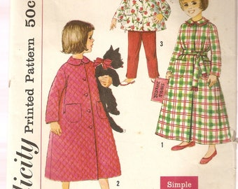 VINTAGE Simplicity Sewing Pattern 2742 - Children's Clothes - Child's Pajamas and Robe, Size 3