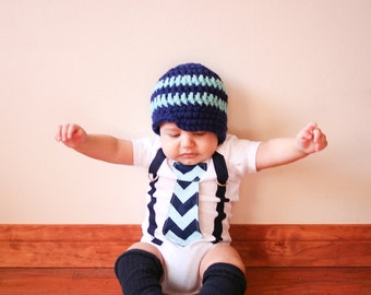 Baby Boy Tie Bodysuit or Shirt with Suspenders - Aqua and Navy Blue