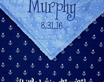 Nautical Baby Security Blanket Navy Anchor and Minky Gender Neutral Personalized Small Lovie for Baby Boy Baby Girl 18x18 - READ Description