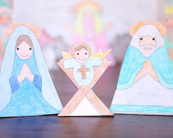 Printable Nativity Set Advent Calendar Coloring Pages for Christmas