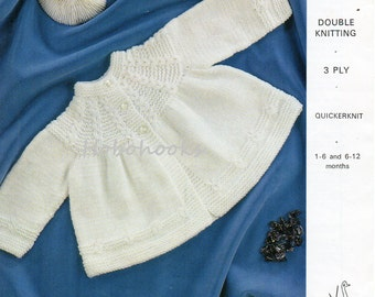 Baby Knitting pattern baby matinee coat , baby matinee jacket ,1- 6 / 6 -12 months,DK,3 Ply,QK, Baby Knitting Patterns ,PDF instant download
