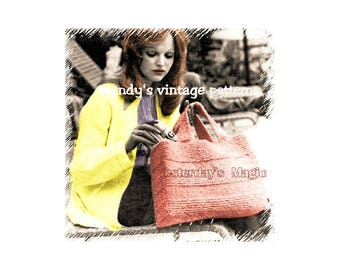 Instant Download PDF KNITTING PATTERN to make a Large Shopping Tote Weekend Flight Travel Beach Multi Purpose Hand Bag