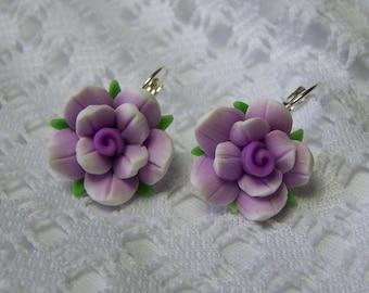 Large Purple Flower Earrings, Silver Lever Back Earrings, Shades of Purple Earrings, Gardener Gift, Summer Earrings, Wild Rose Earrings