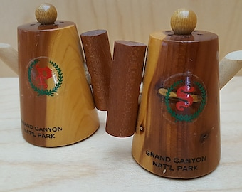 Wood Coffee Pot Salt and Pepper Shakers Vintage 1980's