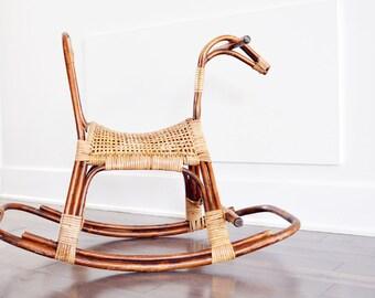 Vintage Rattan Wicker Rotin Rocking Horse Chair- 1970's Mid Century Nursery Decor- Bohemian Playroom- Nursery Boho Decor- Art- Boheme