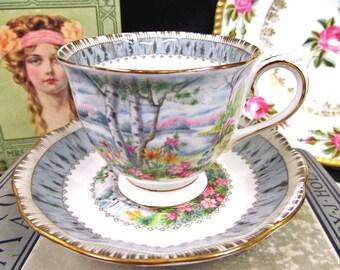 Royal Albert Tea Cup and Saucer Silver Birch Pattern Teacup