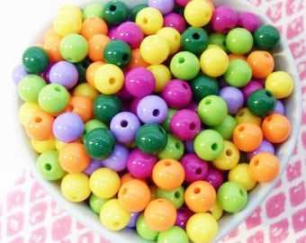 75x 8mm Resin Multi color Globe beads .. Mini Bubblegum Fun