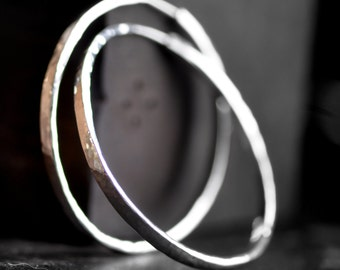 2 inch hoops, wide forward facing, sterling silver,  round hammered endless earrings, self locking, crescent moon hoops
