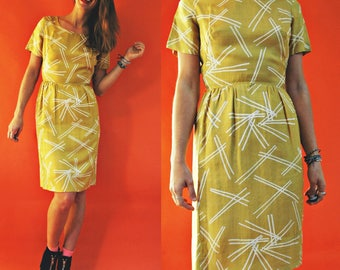1960s Silk Gold Yellow Abstract Line Print Wiggle Dress