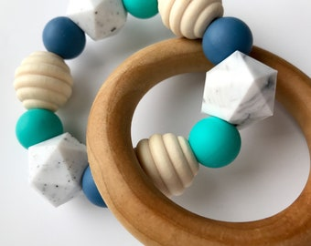 Teether Ring - teal, blue, honeypots