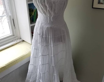 White cotton dress...made in India....tea length...boho style...lined....excellent condition