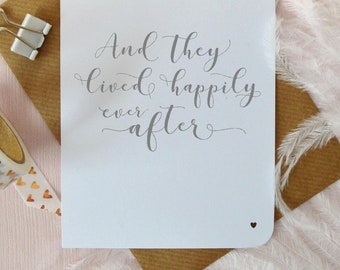 And they lived happily ever after wedding card, mr and mrs, bride and groom, husband and wife, hand written modern calligraphy, UK