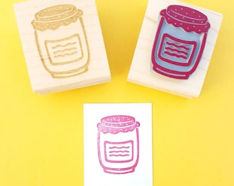 Jam Jar Rubber Stamp - Jam Jar Rubber Stamp - Gift for Foodie - Jam Making - Jam Jar Labels - Fruit Stamper - Strawberry Jam - Kitchen
