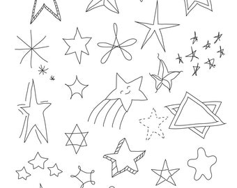 Set of Stars - Art Outlines Full Page 29 Original Hand Drawn Outline Illustrations