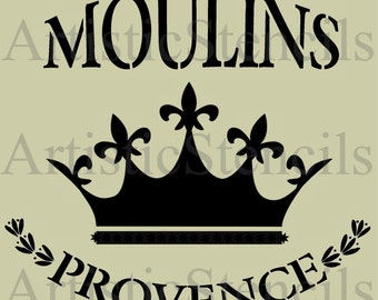 STENCIL French Moulins de Provence with Royal Crown Various sizes