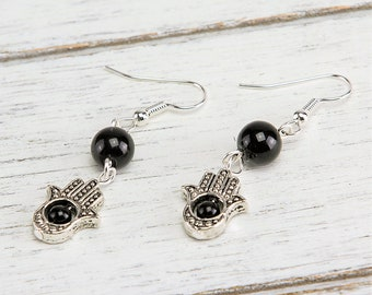 Onyx 8mm Gemstone Hamsa Silver Dangle Earrings
