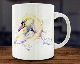 Swan Mug, Watercolor Swan Coffee Mug, Kitchen Art (A264)