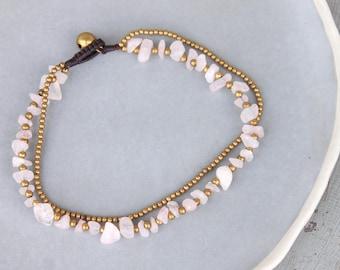 Rose Quartz Strand Anklet Beaded Pink Stone Brass Simple