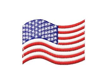 American flag, machine embroidery design